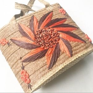 Vintage Woven Floral Straw Bucket Bag